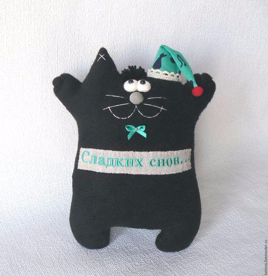 сладких снов спокойной ночи чёрный кот котик черный игрушки подушки ярмарка мастеров ручная работа купить реклама магазина (530x545, 190Kb)