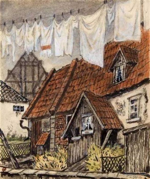 Добужинский_Старый дом_в_Германии (586x700, 433Kb)