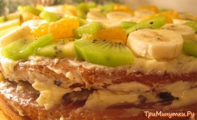 Вкусный торт с киви и бананом рецепт