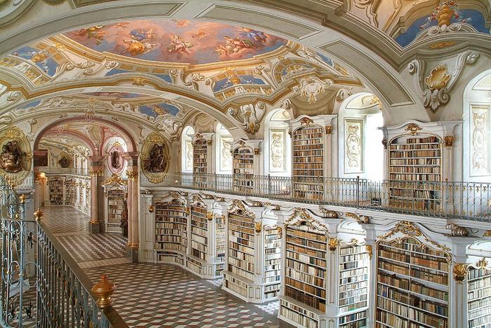 Библиотека аббатства Адмонт, Австрия (700x468, 510Kb)