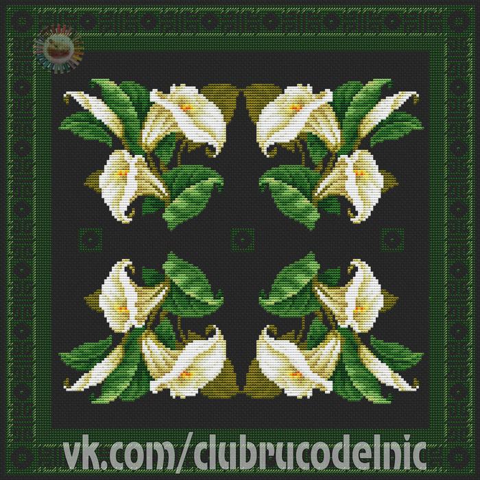 Подушка с лилиями (700x700, 783Kb)