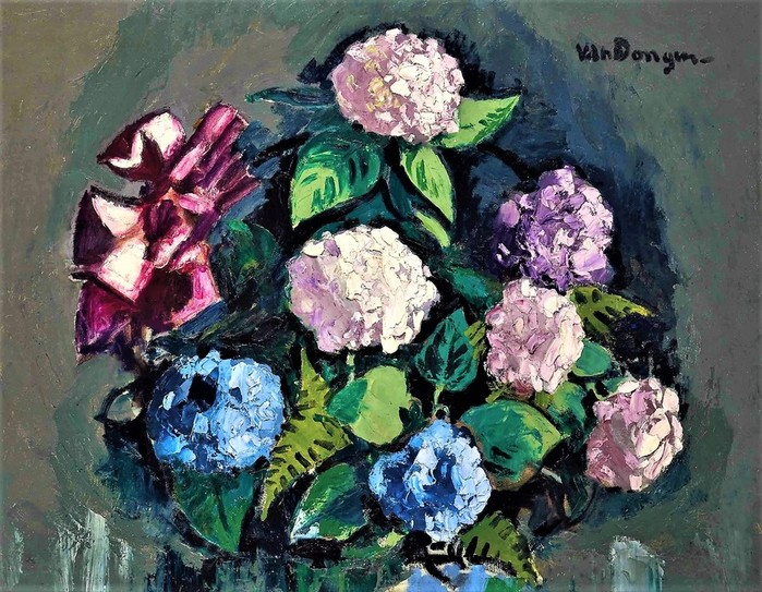 Букет  гортензий  (Bouquet d'hortensias)  114.4 x 146.5 (700x543, 158Kb)
