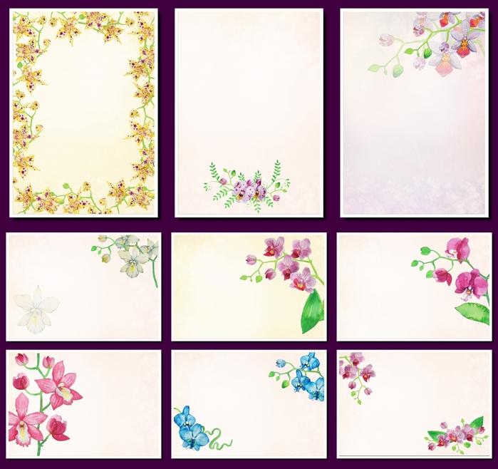 Фоны с орхидеями для оформления творческих работ, А4. 11 png. Часть 37.