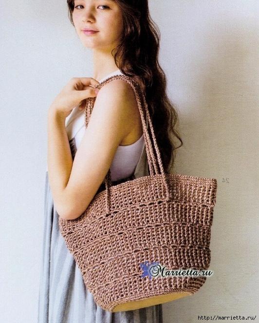 Вяжем крючком летнюю сумку с кожаным дном. Схема вязания(1) (532x664, 298Kb)