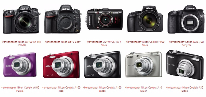 Выбор фотоаппаратов в интернет-магазине «Евро Техника» (1)