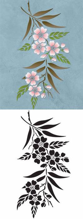 трафарет цветы (6) (266x700, 142Kb)