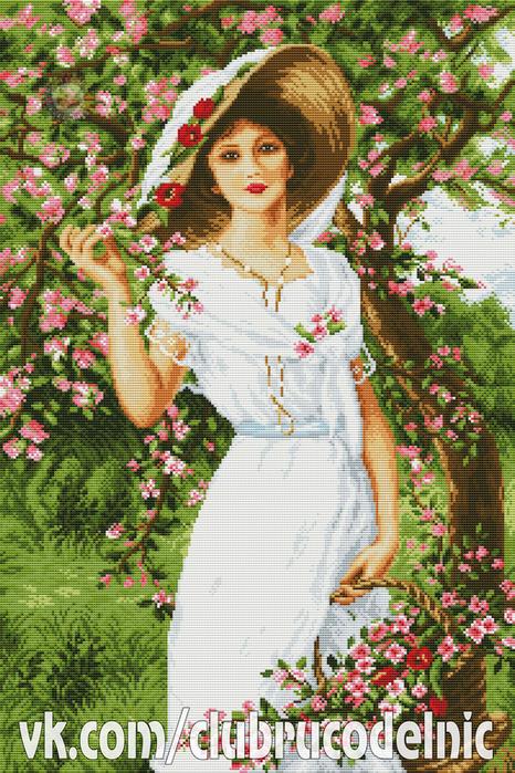 Женщина и цветы (466x700, 610Kb)