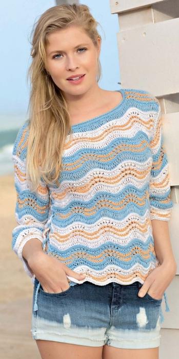 "Красивый летний пуловер ""Пляж"" спицами!/3925073_Izumrudnyipuloverskorotkimirukavami (349x700, 194Kb)"