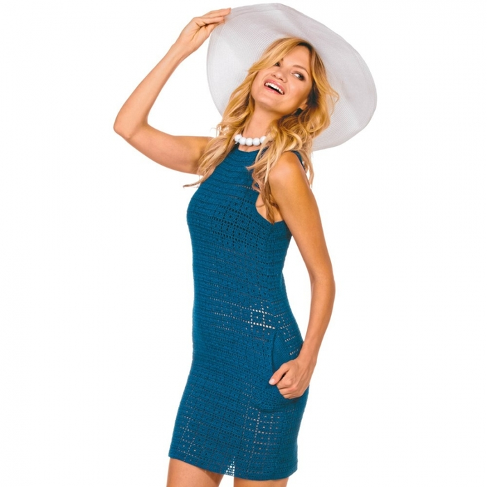 как связать ажурное платье крючком видео