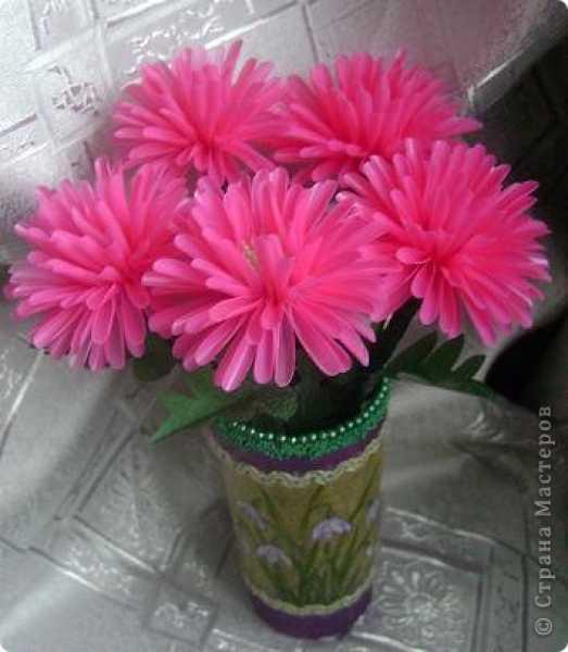 Цветы из трубочек для коктейля