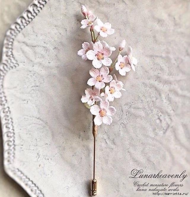 Вязаные украшения handmade. Веточка цветущего абрикоса (1) (641x664, 272Kb)