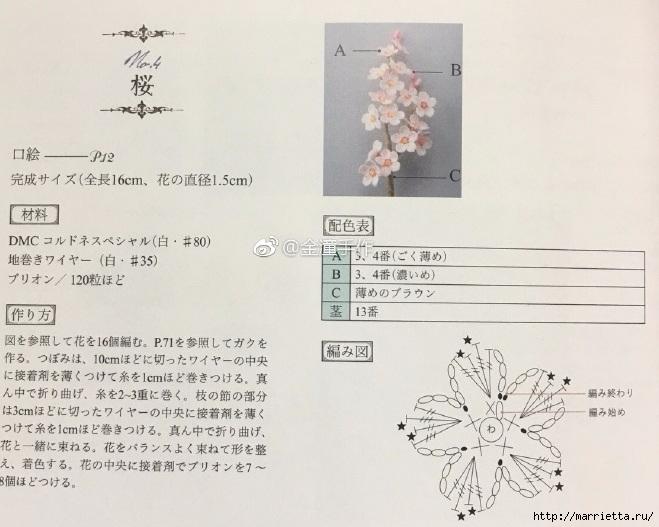 Вязаные украшения handmade. Веточка цветущего абрикоса (9) (659x527, 199Kb)