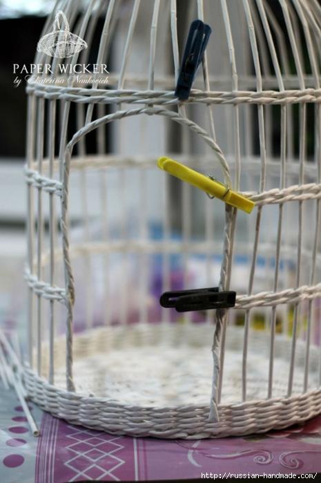 Плетение из газет. Клетка для птички (1) (465x700, 218Kb)