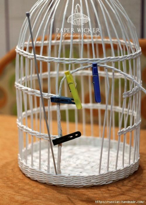 Плетение из газет. Клетка для птички (10) (499x700, 265Kb)