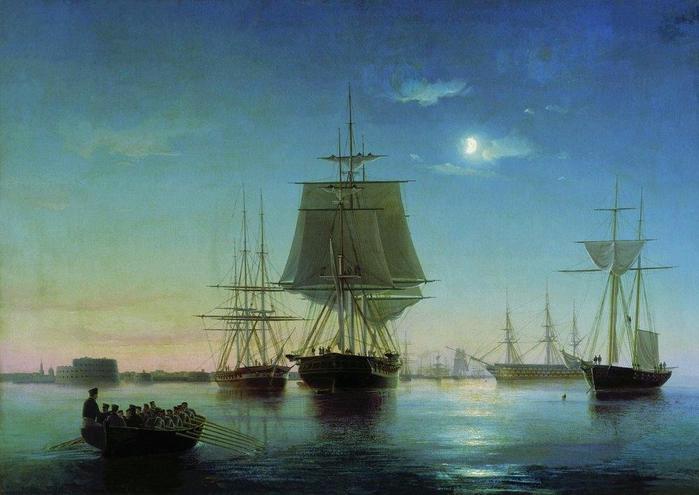 Кронштадтский рейд с кораблями вечером. 1855 (700x495, 350Kb)