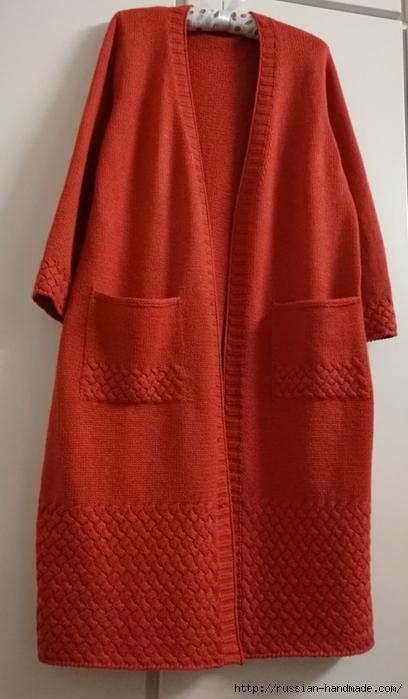 Очень красивое длинное пальто спицами (6) (408x700, 187Kb)