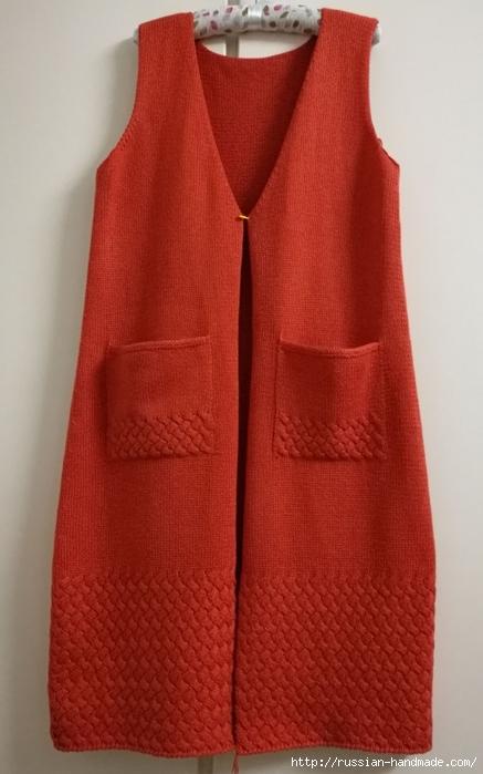 Очень красивое длинное пальто спицами (14) (437x700, 196Kb)
