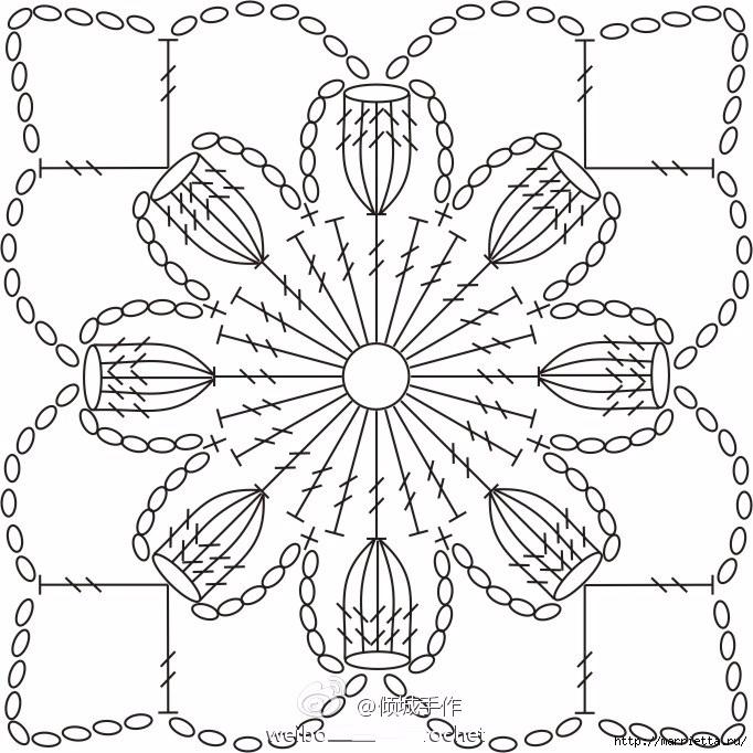 Цветочная шаль крючком. Схема мотива (2) (682x682, 277Kb)