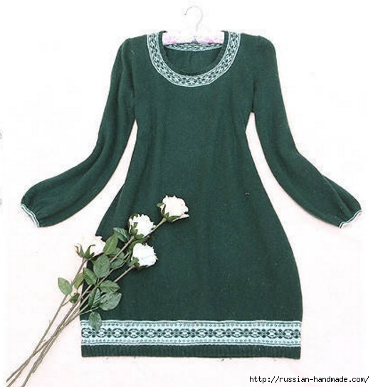 Платье спицами с жаккардовым узором. Схема (3) (524x544, 126Kb)