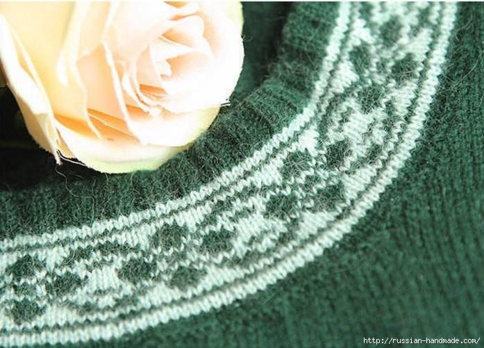 Платье спицами с жаккардовым узором. Схема (5) (697x501, 259Kb)