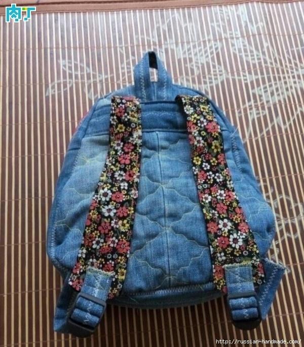 Шитье детского рюкзака из старых джинсов (7) (600x683, 301Kb)