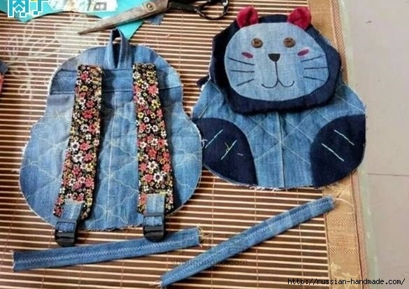Шитье детского рюкзака из старых джинсов (13) (585x413, 186Kb)