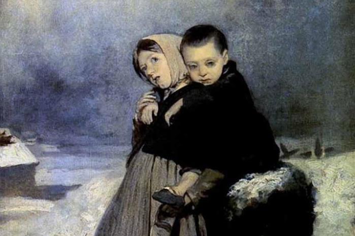 Описание картины «Дети сироты на кладбище», Перов, 1864