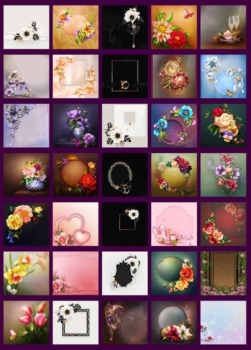 Цветочные фоны для открыток и пригласительных.60 шт.