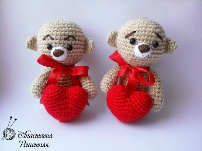Мишки с валентинками от Анастасии Решетняк.