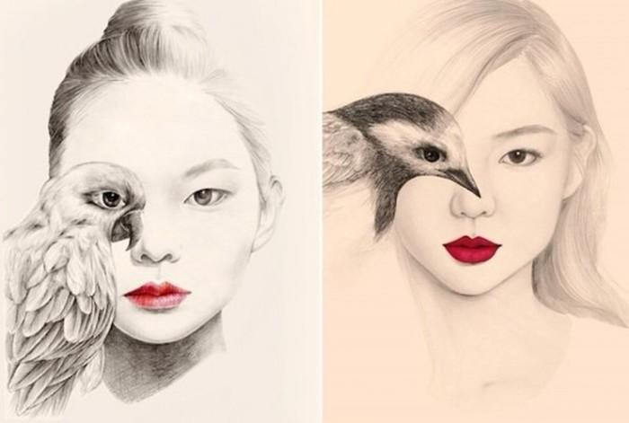 Женские образы с птичками: невероятно талантливая корейская художница