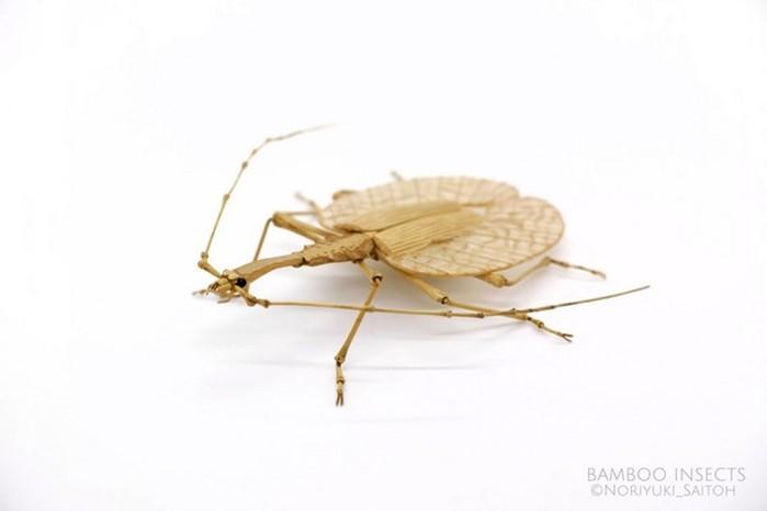 Noriyuki Saitoh: скульптуры насекомых из дерева