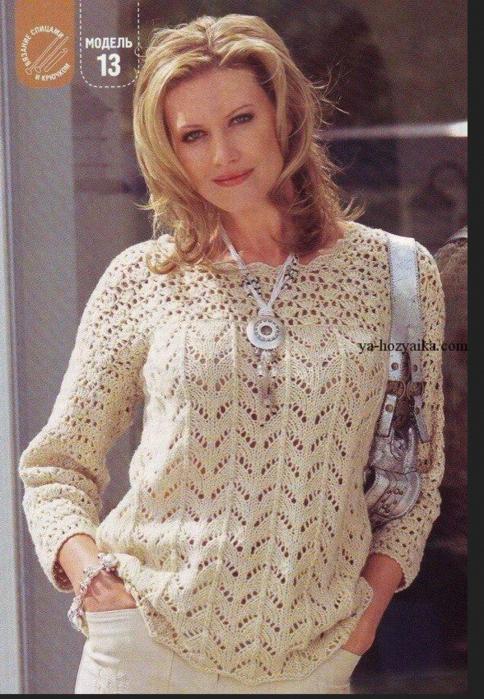Ажурный пуловер с кокеткой связанный спицами и крючком