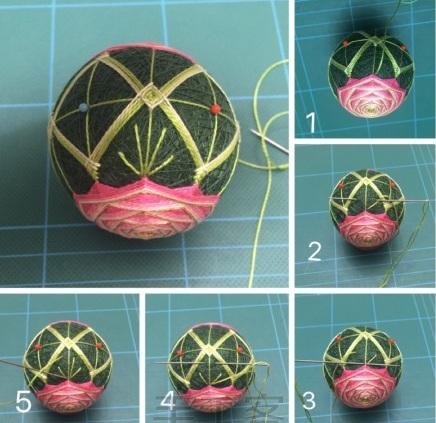 Японский шар темари с розой (15) (436x423, 171Kb)