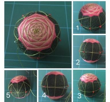 Японский шар темари с розой (21) (384x357, 119Kb)