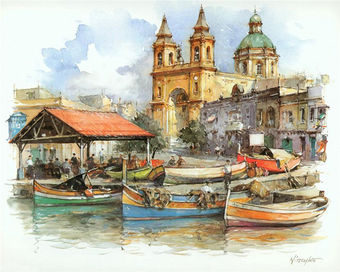 Europe_Cities_Watercolor_Detlev_Nitschke_6 (670x536, 339Kb)