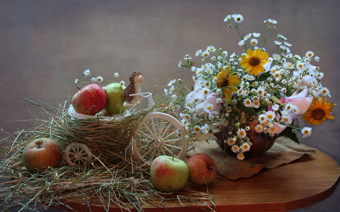 Still-life_Bouquets_Camomiles_Apples_Hedgehogs_553639_2880x1800 (700x437, 446Kb)