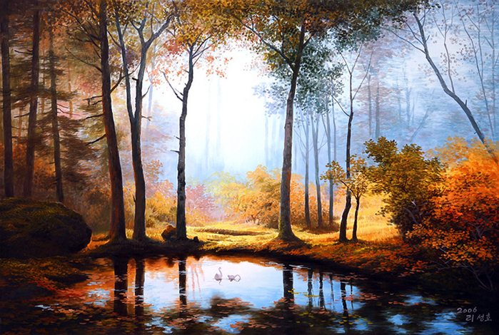 painting-of-forest-and-pond (700x470, 557Kb)