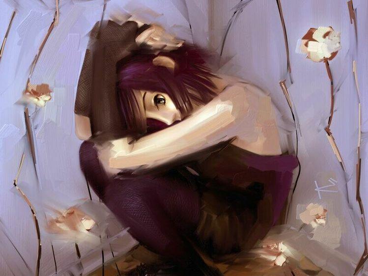 картинки аниме грусть: