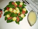 [+] Увеличить - Семга с творожными шариками на листьях шпината с лимонно-горчичной заливкой