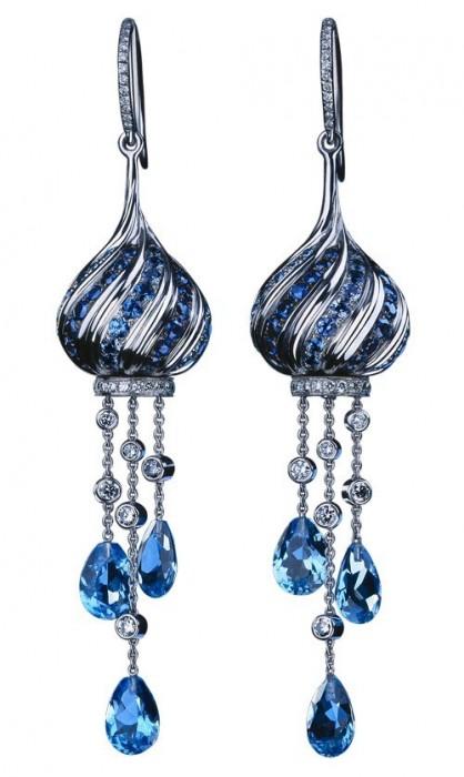 """Серьги """"Екатерина"""": Белое золото, голубые топазы, бриллианты, пастельные сапфиры, синие сапфиры"""