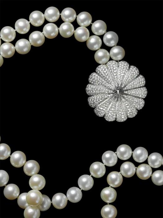 """Ожерелье """"Донна"""": Белое золото, бриллианты, жемчуг"""