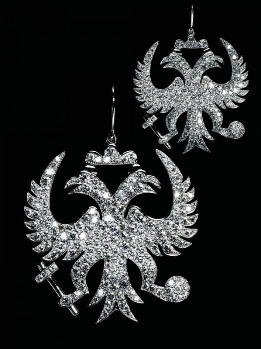 """Серьги """"Императорские орлы"""": Белое золото, бриллианты"""