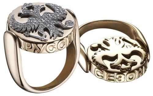 """Кольцо """"Императорские орлы"""": Розовое золото, бриллианты"""