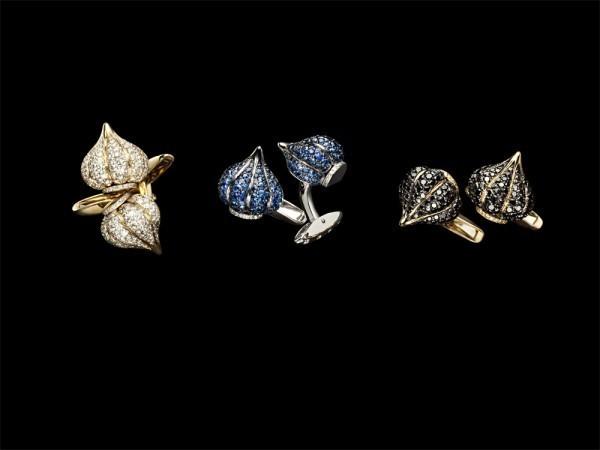"""Запонки """"Godron"""": 1. Желтое золото и бриллинаты, 2. Белое золото, бриллианты и голубые и сапфиры, 3. Желтое золото и черные бриллианты."""