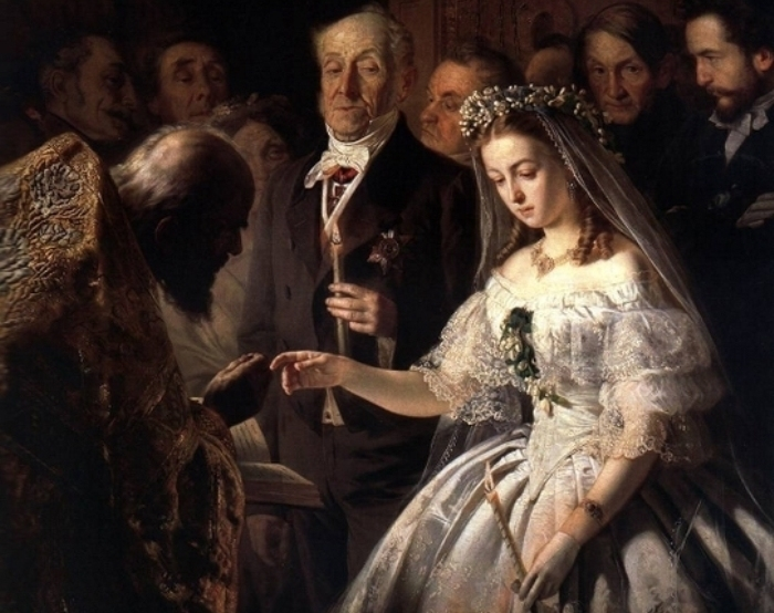 Василий Пукирев. Неравный брак, 1862. Фрагмент.