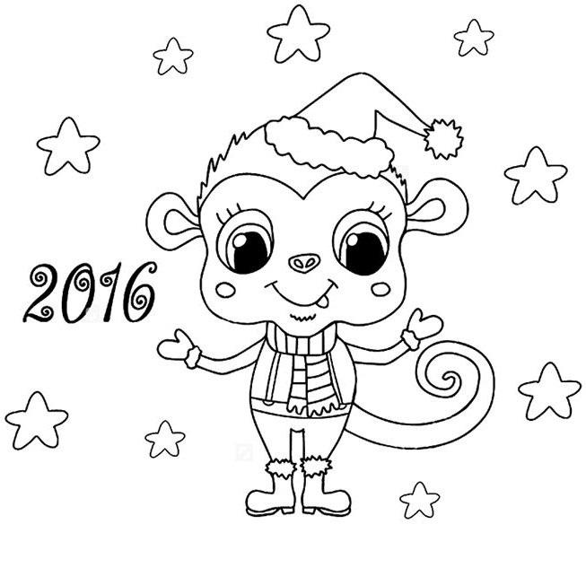 Раскраски новый год обезьянки