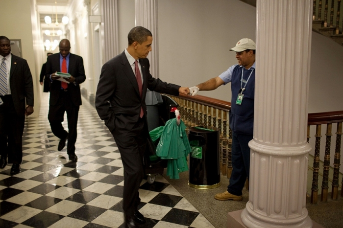 #2 President Barack Obama Fist-Bumps Custodian Lawrence Lipscomb.
