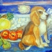 Моя Ласточка на фоне картины и фруктов