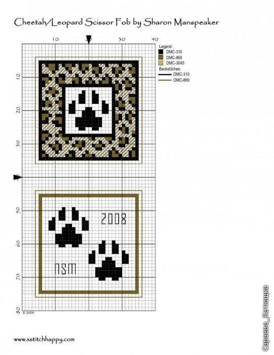 Схемы вышивки маячков для ножниц 551