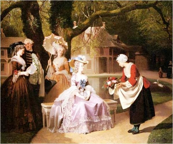 Joseph caraud marie antoinette and louis xvi in the garden of the